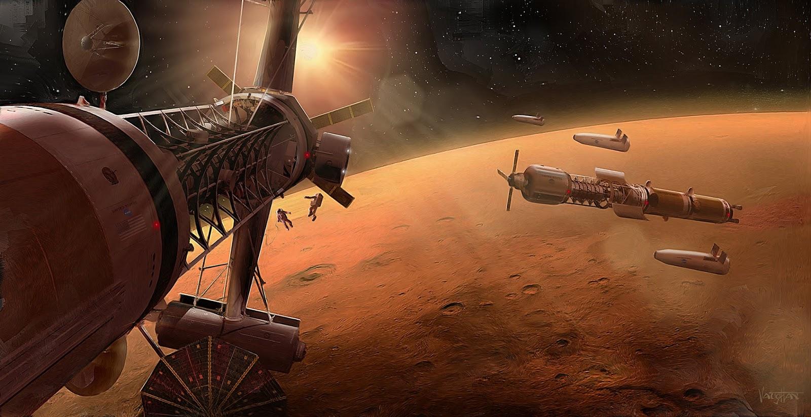 Spaceships in Mars orbit by James Vaughan